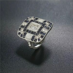 Sapphire Crystal Art Deco Ring Size 7